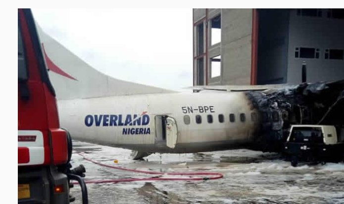 Overland plane catches fire, burns beyond repair