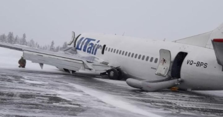 Boeing 737-524 авиакомпании UTair, выполнявший рейс 595, выкатился за пределы ВПП после приземления в аэропорту Усинска, Россия.